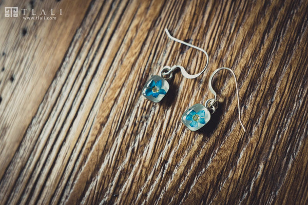 Forget-Me-Not Jewelry: Square Earrings