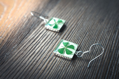 Clover Jewelry: Square Dangle Earrings