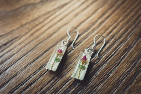 Rose Jewelry: Hanging Cylinder Earrings
