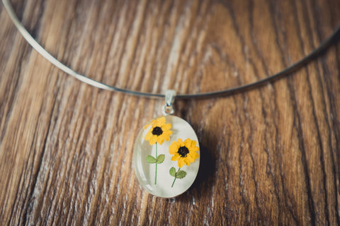 Sunflower Jewelry: Oval Pendant