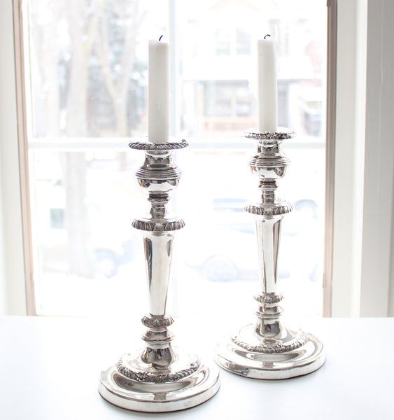 Antique Silver Plate Candlesticks