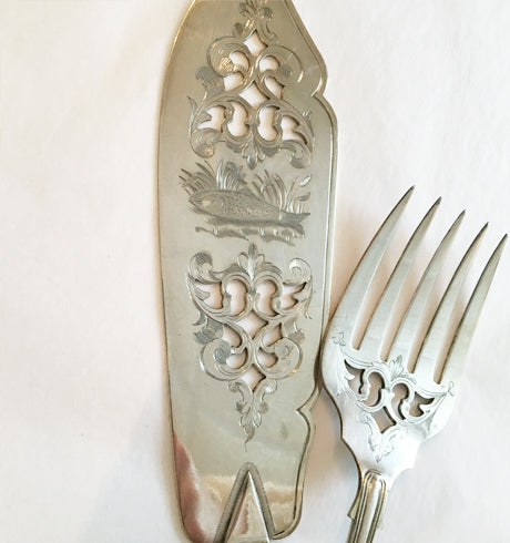 Antique Fish Server with Shell Detail