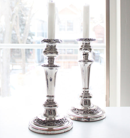 Antique Floral Candlesticks