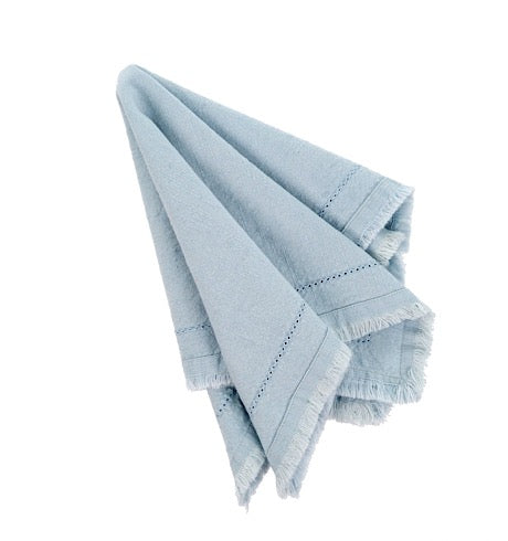 Frayed Edge Napkin, Light Blue