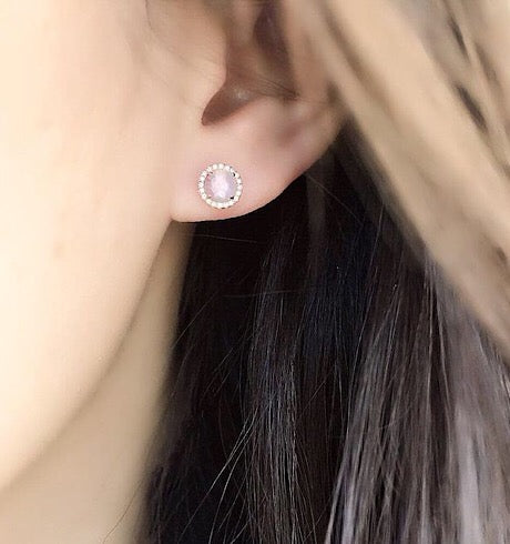 Rose Cut Rose Quartz Center with Diamond Halo Studs