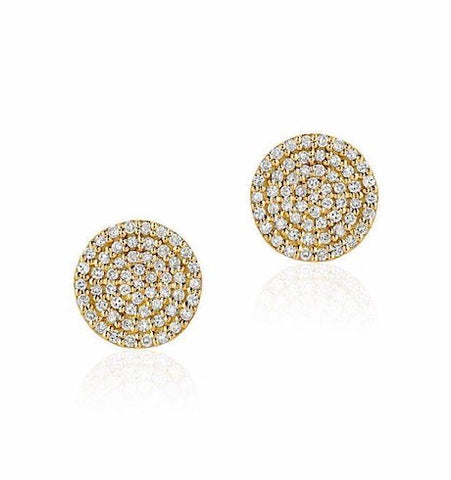 Diamond Pave Disc Post Earrings