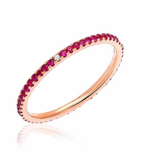 Ruby Eternity Band with White Diamonds at Compass Points