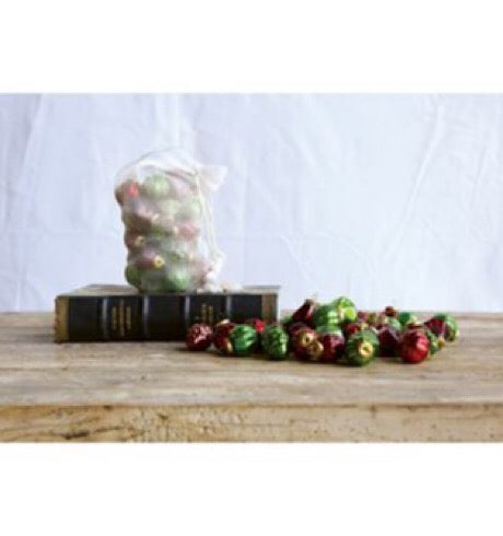 Embossed Mercury Glass Ornaments, Red/Green