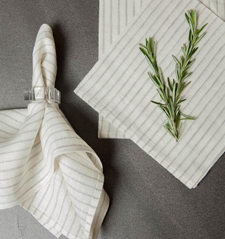 Arman Napkins, Ivory with Smoke Stripes