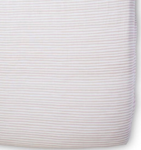 Stripes Away Crib Sheet, Petal