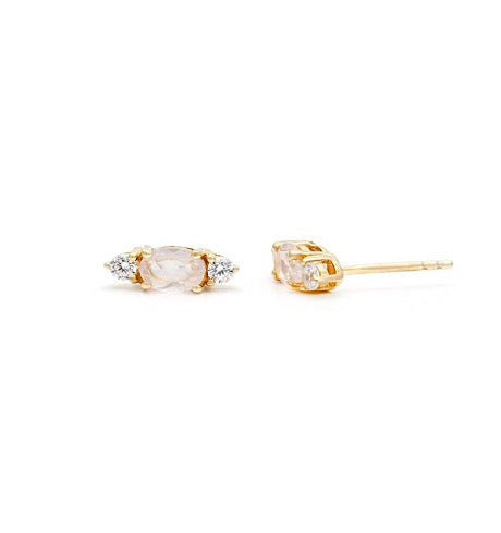 Rose Quartz Elle Studs