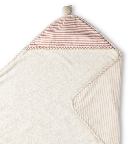 Stripes Away Hooded Towel - Petal