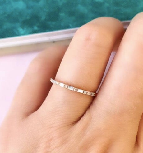 Petite Baguette and Round Diamond Halfway Band