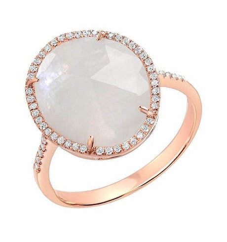 Organic Shape Rose Cut Moonstone Ring