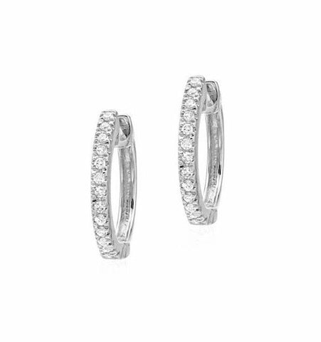 Diamond Huggies, White Gold