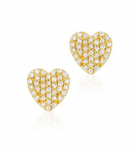 Heart Pave Diamond Studs