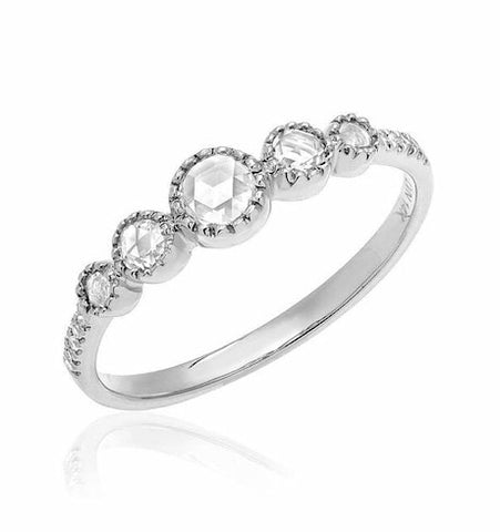 Heirloom Graduated Rose Cut Five Diamond Band