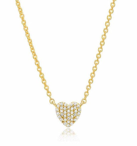 Yellow Gold Heart Pave Diamond Necklace