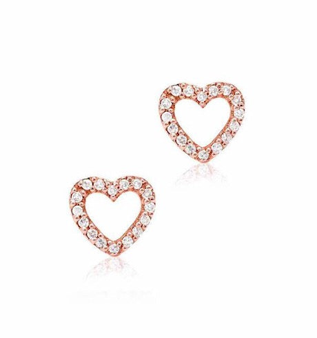 Open Heart Diamond Studs