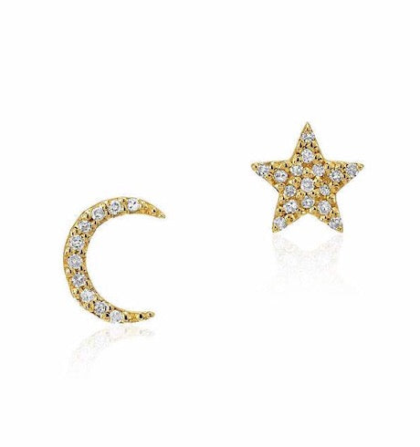 Star Moon Diamond Studs