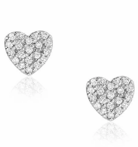 Small Heart Pave Diamond Studs White Gold