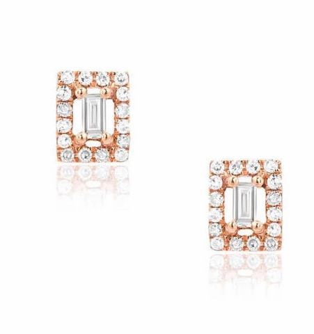 Liven Baguette with Diamond Halo Post Earrings