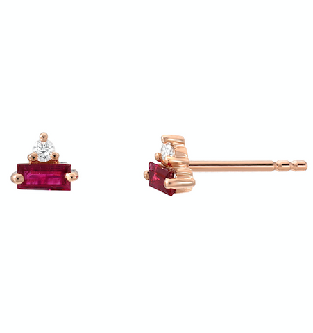 Liven Ruby & Diamonds Triangle Post Earrings