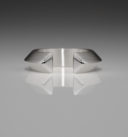 Slice Large Silver Triangle Ring