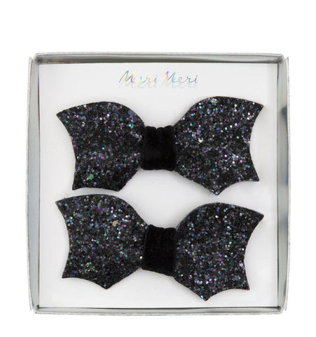 Bat Bow Glitter Clips Barrette