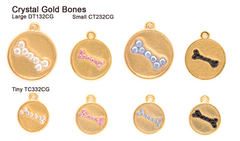 Crystal Gold Bone Tags