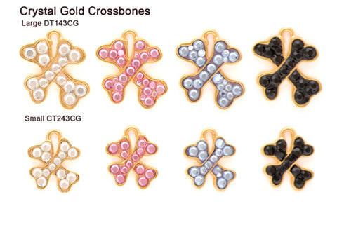 Crystal Gold Crossbones Tags