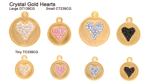 Crystal Gold Heart Tags
