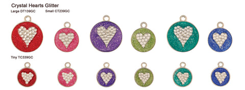 Glitter Crystal Heart Tags