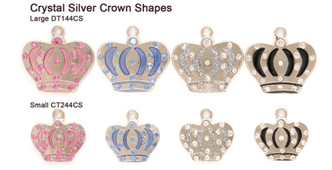 Crystal Silver Crown Shape Tags