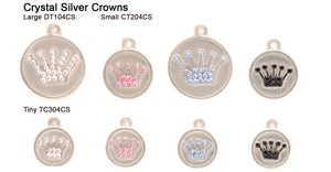 Crystal Silver Crown Tags
