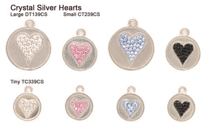 Crystal Silver Heart Tags
