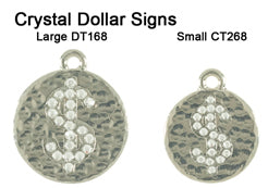 Hammered Crystal Dollar Sign Tags