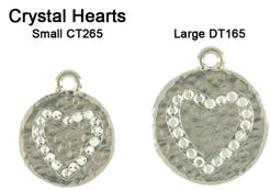 Hammered Crystal Heart Tags