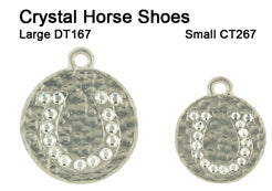 Hammered Crystal Horseshoe Tags