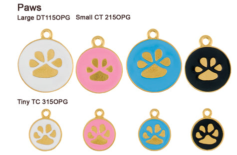 Paw Opaque Pastel Gold Tags