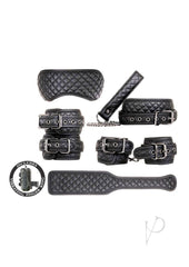 Front facing set of vegan leather ankle cuffs, wrist cuffs, paddle, blindfold, collar and leash in black