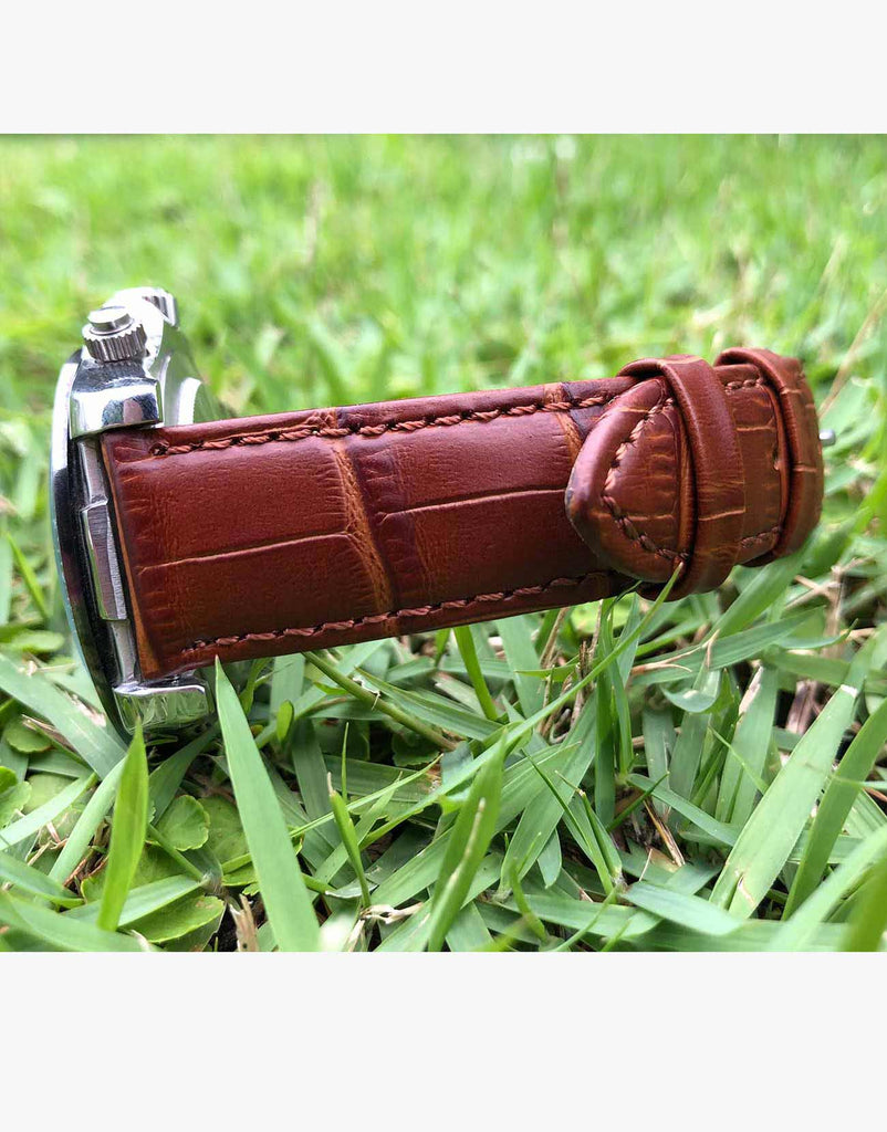LUX Alligator Grain Tan-Light Brown Leather Watch Bands