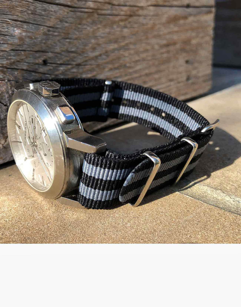 BOND Nylon N.A.T.O Black and Gray watch straps by LUX