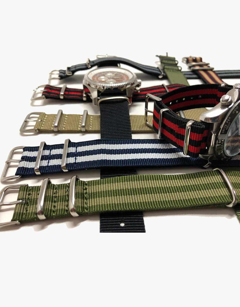 BOND Nylon N.A.T.O Green and Beige Military style Watch Straps by LUX