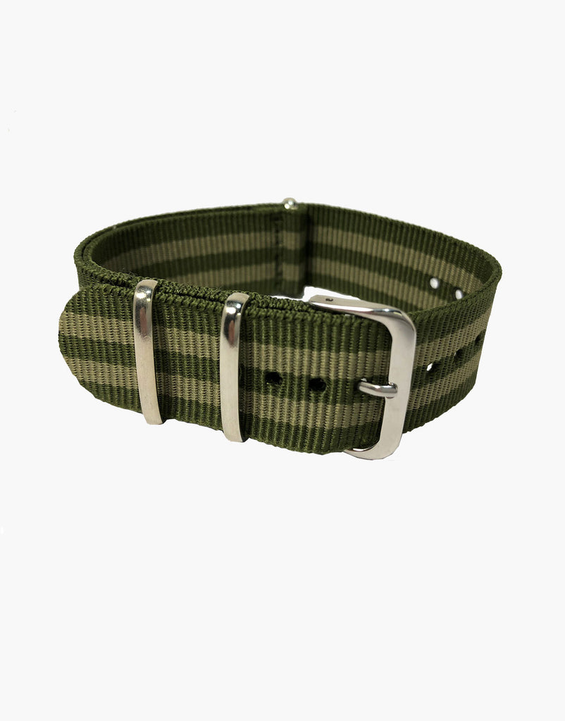 BOND Nylon NATO Green Beige Military Style Watch Strap