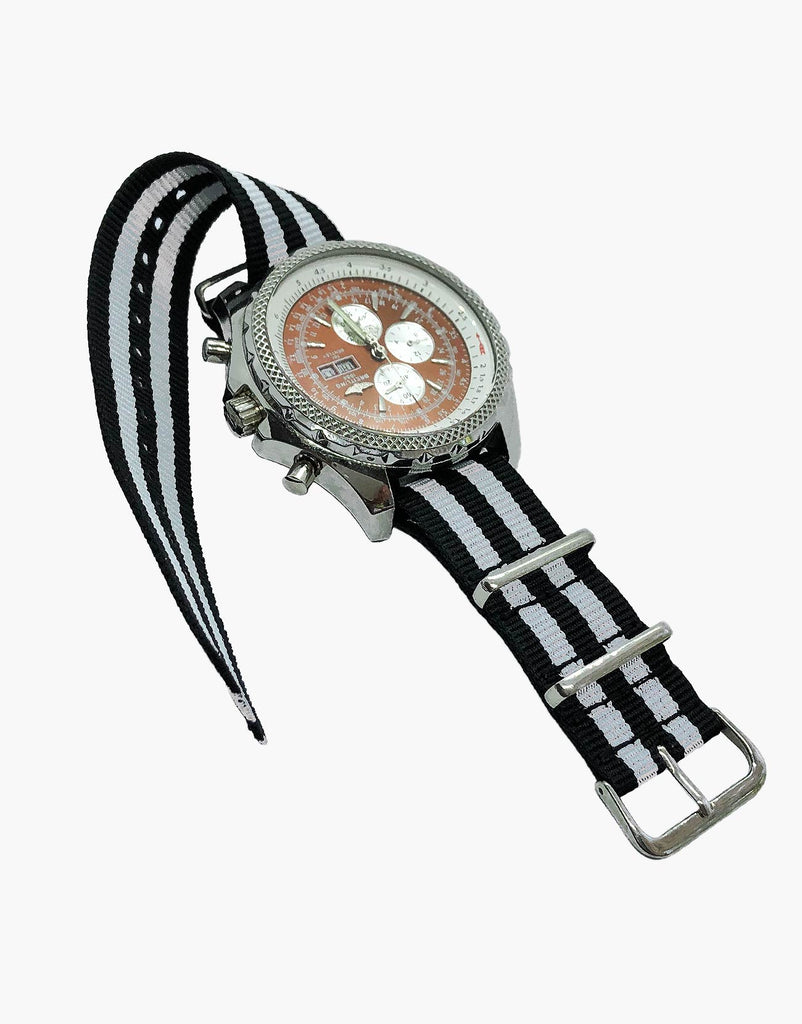 BOND Nylon NATO Style Black and White Watch Bands