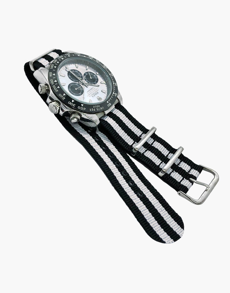 BOND Nylon NATO Style Black and White Watch Bands 2