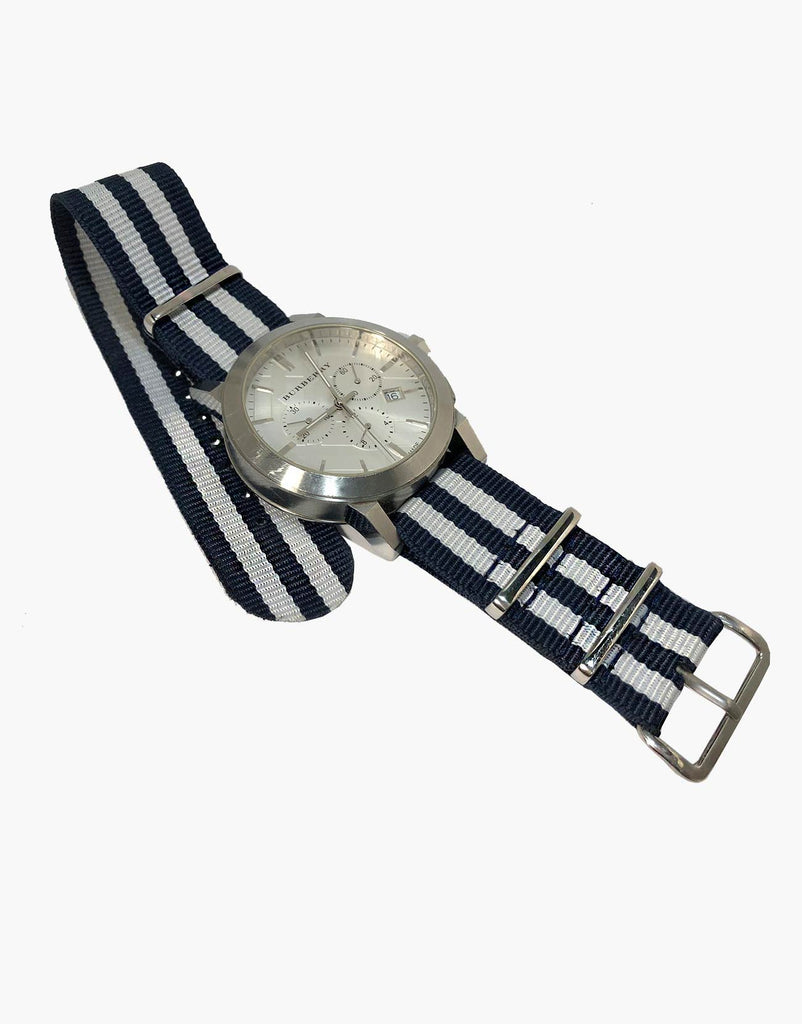 BOND Nylon N.A.T.O Style Blue and White Watch Bands by LUX