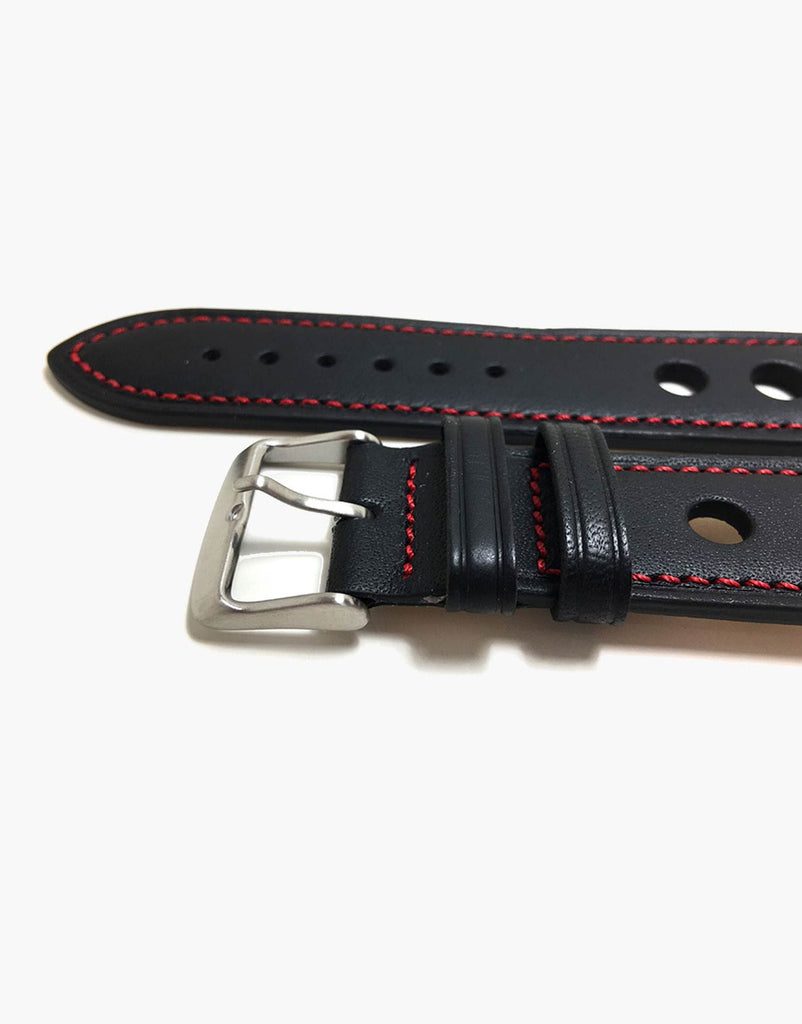 Calf Leather Watchbands Black with Red Stitching-LUX Grand Prix Rally