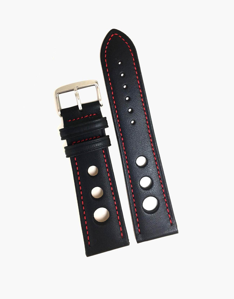 Black Grand Prix Rally Calf Leather Watch band strap